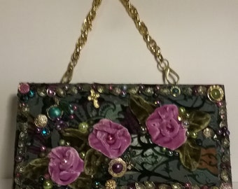 Shabby Chic Cigar box purse, hand dyed silk velvet roses, burn out velvet background, charms, beads, chain handle, bottom lined, all wood,