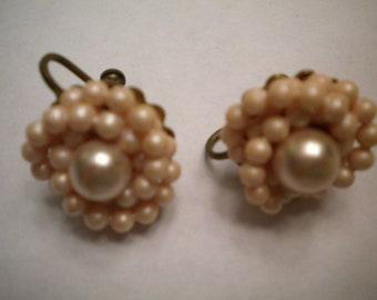 Pink Pearl and Bead Vintage Earrings