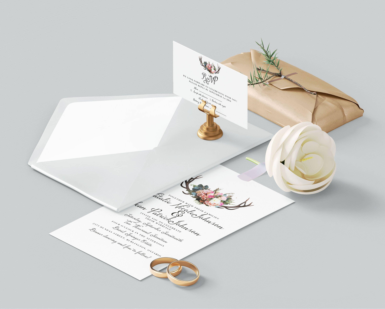 Antler Wedding Invitation Template Printable Rustic Wedding