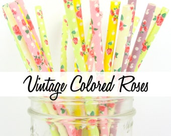 VINTAGE COLORED ROSES - Colored Combination Paper Straws - Party Paper Straws - Wedding - Birthday Decorations