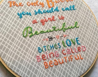 "Framed ""B-Word"" Embroidery"