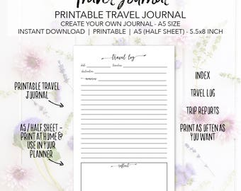Printable Travel Journal Planner Insert Pages - Create Your Own Travel Journal - INSTANT DOWNLOAD Vacation Planning A5 Half Sheet 5.5x8.5