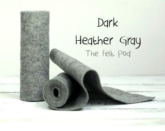 100 Percent Wool Felt Roll in color DARK HEATHER GRAY - Craft Felt - Merino Wool - Gray Felt