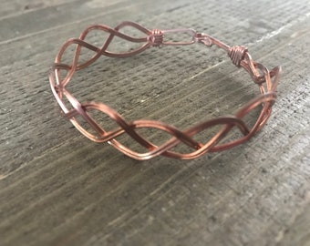 Copper weave wire wrap bangle