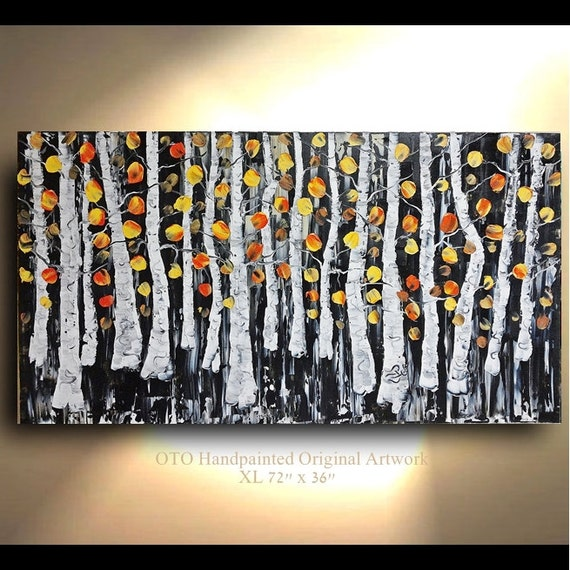 Original painting 72x36 black white peach orange naples yellow