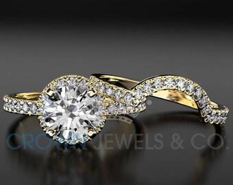 Diamond Engagement Ring And Wedding Band Ladies Bridal Jewelry Set 1.25 Carat Round Brilliant Cut F VS 18K Yellow Gold Setting