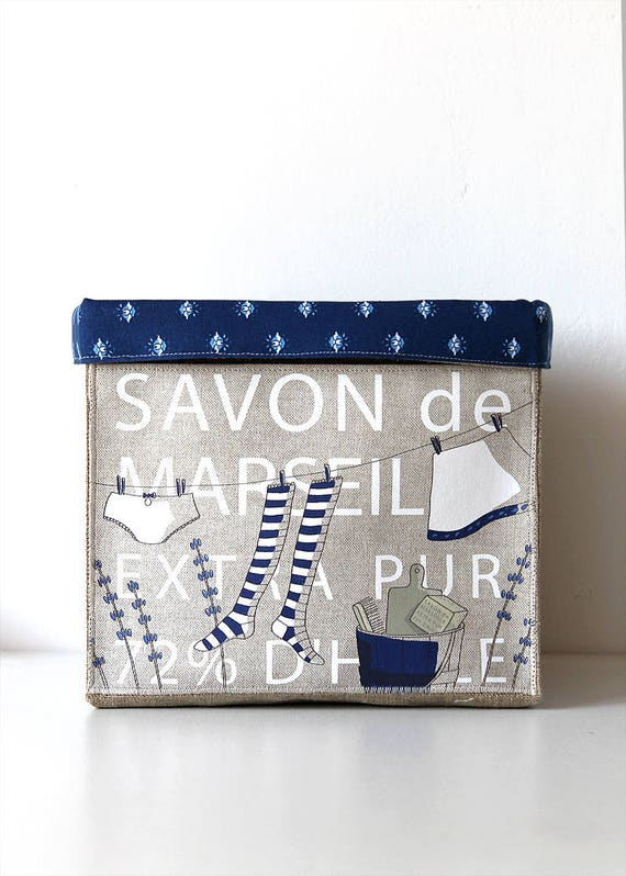 """Small basket square very soft / tidy linen natural lining of cotton and illustrated """"MARSEILLE SOAP"""""""
