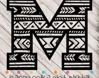Aztec Letter M SVG digital cutting file for Silhouette Cameo, Cricut Explore, or other personal cutting machines