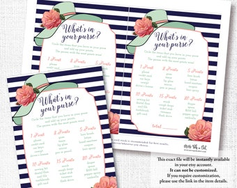 Hat Bridal Shower Game, Printable, What's In Your Purse, Wedding, Baby, Tea Party, Mint, Coral, Navy, Instant Download, Digital file