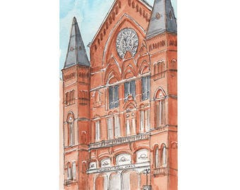 Music Hall Watercolor Print, Cincinnati, Ohio