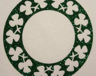Monogram St Patrick's Day shamrock clover solid border glitter vinyl iron on