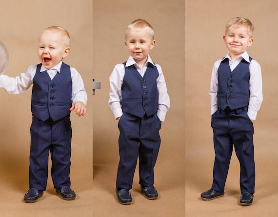 3 Pcs Wedding Boy Suit Ring Bearer Outfit Boy Suit Toddler
