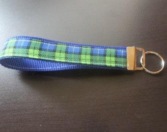 Blue and green plaid keychain/keyfob/wristlet