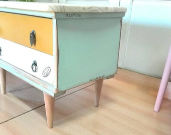 Not available Nordic bedside table Nordic table, conical legs retro mustard mint pine, dorm room Auxiliary