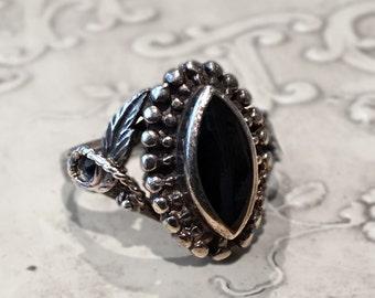 Vintage Sterling Silver Black Onyx Ring Boho Tribal Size 7