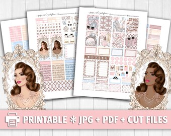 VINTAGE COUTURE Printable Planner Stickers/for use with Erin Condren/Weekly Kit/Cutfiles Vacation Spring Glitter Summer Fashion Glamour