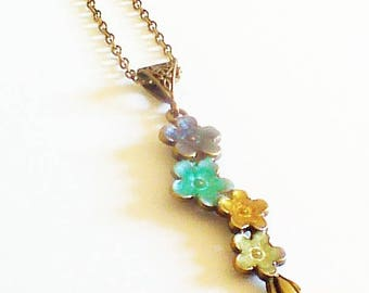 "Dainty long necklace romantic ""cluster of flowers"""