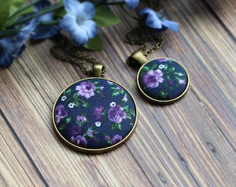 Purple and Navy Jewelry, Small Or Large Pendant, Blue Boho Necklace, Hippie Floral Fabric Jewelry