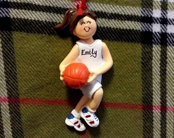 Personalized Female Basketball Player-Basketball Birthday/Team Gifts/Basketball Cake Stand/Magnet/Ornament-Customize Hair Color & Skin Tone