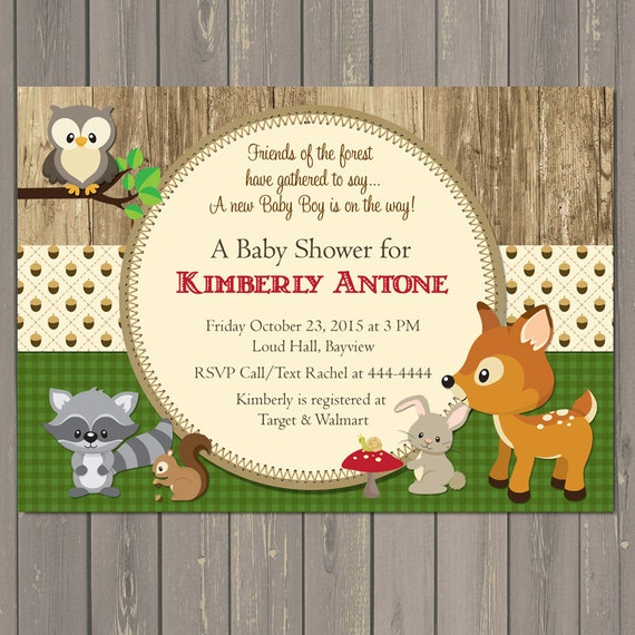Woodland baby shower invitations forest animals shower like this item filmwisefo Images