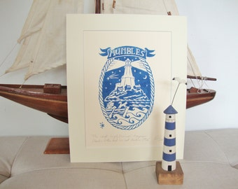 The last lighthouse keeper Charlie Cottle and his cat Mackie 1936, Mumbles lighthouse. Original linocut print