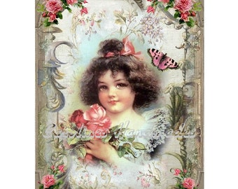 """Victorian Girl & Roses Collage Cotton Fabric Quilt Block (1) @ 5X7"""" on 8.5X11"""" Sheet"""