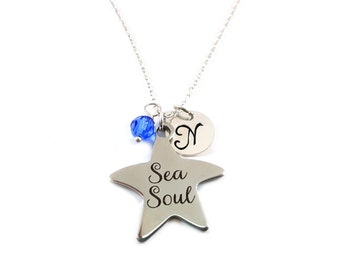 Sea Soul Necklace - Beach Jewelry - Swarovski Birthstone - Personalized Initial Necklace - Sterling Silver Jewelry - Gift for Her