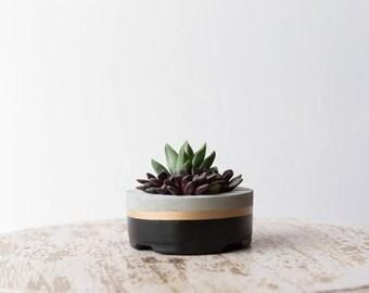 Small Concrete Planter, Black & Gold