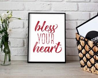 Bless Your Heart Poster Print Wall Art Decor