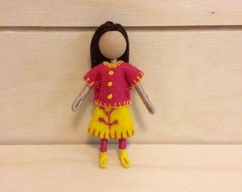 Anna - Pocket doll - Dollhouse doll - Miniature doll - Bendy doll - Faceless doll - Waldorf doll - Montessori toy