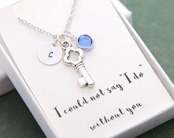 Bridesmaid Necklace, Bridesmaid gift, Key Necklace, Personalized Necklace, Initial Necklace, Personalized Birthday Necklace, Birthstone Gift