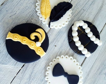 Great Gatsby Party / Wedding /Engagement Fondant Cupcake Toppers