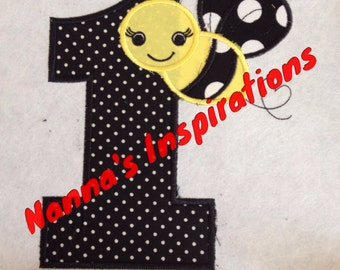 Bumble bee birthday  iron on patch