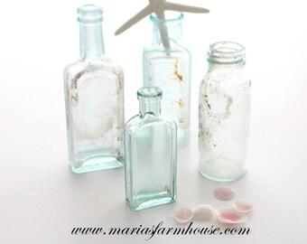 BOTTLES, Beach Decor, Antique, Hand Blown, Pontil Mark, Aquamarine Bottles, Set of 4, Message in a Bottle - c. Late 1800's - Early 1900's