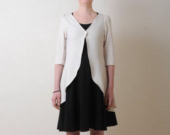 Beige jersey jacket, floral jersey jacket, Long summer cardigan, Womens clothing, MALAM