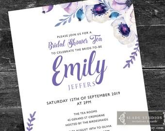 Lilac Purple Floral Bridal shower tea party printable invitations. Lilac, Blue, Purple watercolour floral.