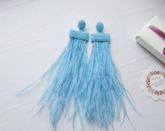 Feather long earrings Blue feather earrings Ostrich feather earrings Waterfall earrings Statement Earrings handmade Wedding earrings