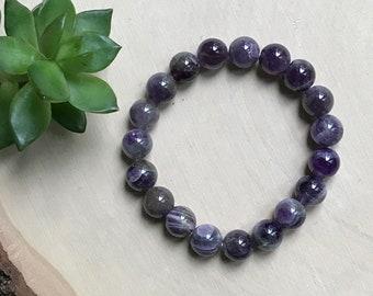 Amethyst Crystal Bracelet - Stretchy Crystal Bracelet - Purple Stone Jewelry - Hippie Style Bracelet - Purple Crystal - Calming Chakras
