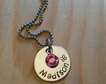 Hand Stamped Personalized Girls Necklace - Butterfly Necklace - Flower Girl Necklace - Birthstone Necklace - Birthday Girl gift