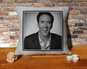 Nicolas Cage Pillow Cushion - 16x16in - Grey
