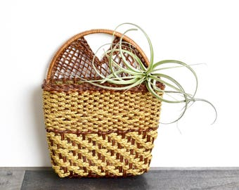 Vintage wicker planter…wall hanging planter...wicker pocket planter...basket planter...wall basket planter...rattan planter...