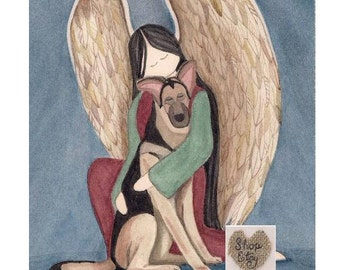 German Shepherd with Angel / Lynch signed folk art print