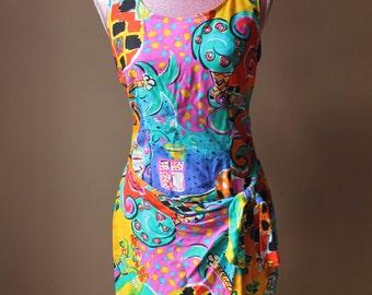 Vintage 90s Colorful Mini Dress by Shok