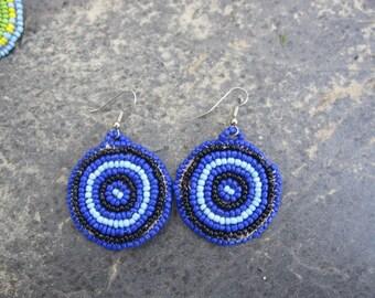 Black and Blue Beaded Earrings