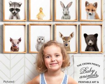Nursery wall art, Baby animal prints, Woodland nursery theme, Woodland animals, PRINTABLE art, Baby animal nursery art, Nursery prints