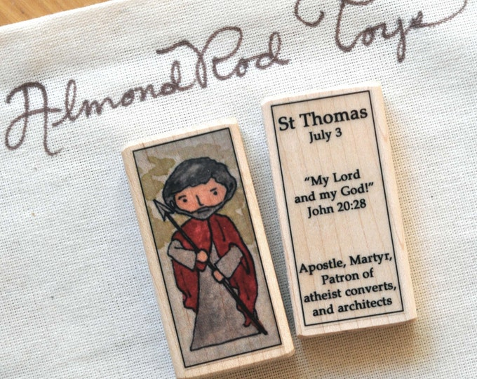 St Thomas the Apostle Patron Saint Block // 100+ saints to choose from // patron saint of atheists