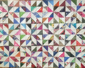 12 COLOR COLLECTION Scrappy Pinwheels Quilt Top Fabric Blocks 100% Cotton Made in USA
