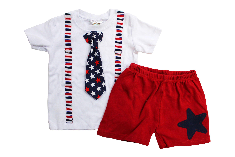 4th of July Shirt Boy Star Shorts 4th of July Shirt kids
