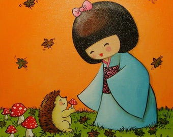 Acrylic painting on canvas with frame: thank you little hedgehog! (kokeshi and Hedgehog)