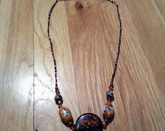 Brown lampworked glass necklace